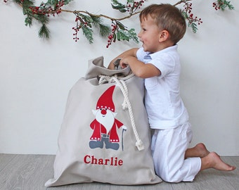 Personalised Santa Sack in Stone with Santa, Christmas Sack, Christmas Bag, Christmas Decor for Kids