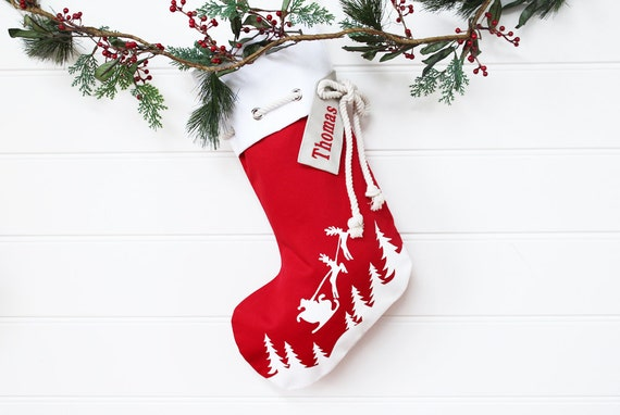 Personalised Christmas Stocking in red with Santa sleigh
