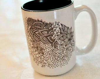 Dotted Doodle Coffee Mug, black and white, ink, drawing