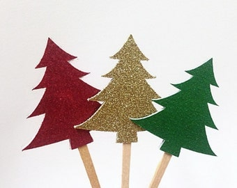 24 pcs Christmas Tree Cupcakes Toppers. Glitter Christmas Trees. Christmas Party Decorations. Christmas Decorations. Red, Gold and Green.