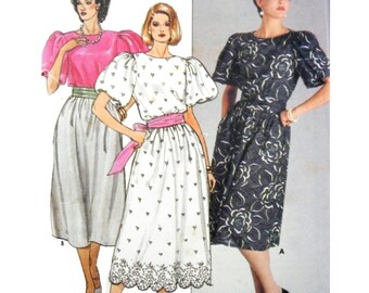 1985 Butterick 3113 David Warren Design Blouson Bodice Dress with Dirndl Skirt, Uncut, Factory Folded Sewing Pattern Size 14-16-18