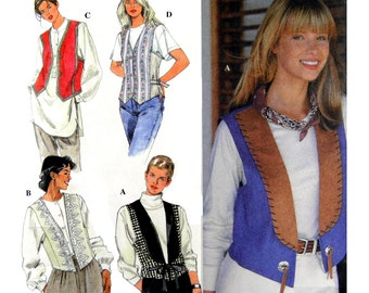 90's Simplicity 9583 Lined Vests with Side Panels, Collar and Trim Variations, Uncut, Factory Folded Sewing Pattern Size 6-8-10