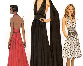 2001 Vogue 7521 Goddess Evening/Prom/Bridesmaids/Formal Dress with Deep V-Neckline in Two Lengths Cut Sewing Pattern Size 8-10-12