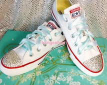 Mrs Bride Blinged Swarovski Converse Shoes Crystallized Chuck Taylor Converse Sneakers White Wedding  Shoes Custom MRS