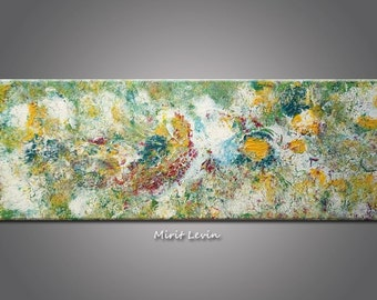 Modern Art Abstract Flower Painting, Floral Art, Long painting Acrylic 70X24.5 cm. Green and Yellow painting
