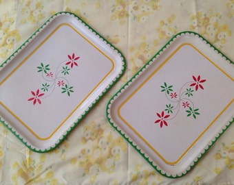 2 vintage green yellow red metal decorative trays
