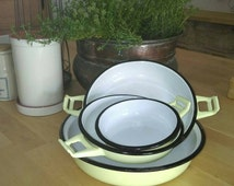Vintage French 1950s enamelware set of 4 oven to table dishes