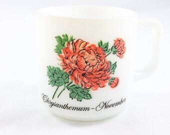 Vintage Glasbake Milk Glass Mug - Crysanthemum November