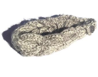 Crochet Headband, Knit Headband, Handmade Daisy Headband, Cableknit Headband, Daisy Chain Headband