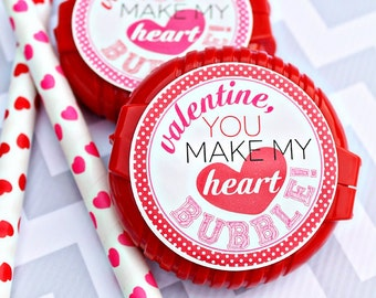 You Make my Heart BUBBLE Printable Party Tags - Cupcake Toppers - Printable Bubble Gum Valentines Day Party Favors - Valentine Printables