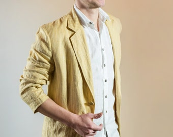 Mens Jacket, Linen Jacket, Mens Blazer, Mens Sport Coat, Linen Blazer, Jacket for men, Summer Jacket, Custom Jacket, extra large Mens Jacket