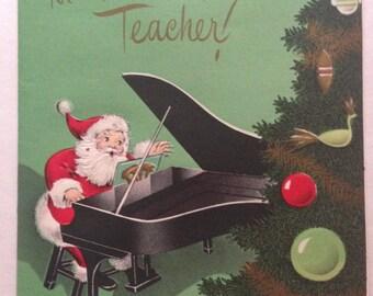 Vintage Teacher Merry Christmas Card, Unused, New Old Stock, 1950s