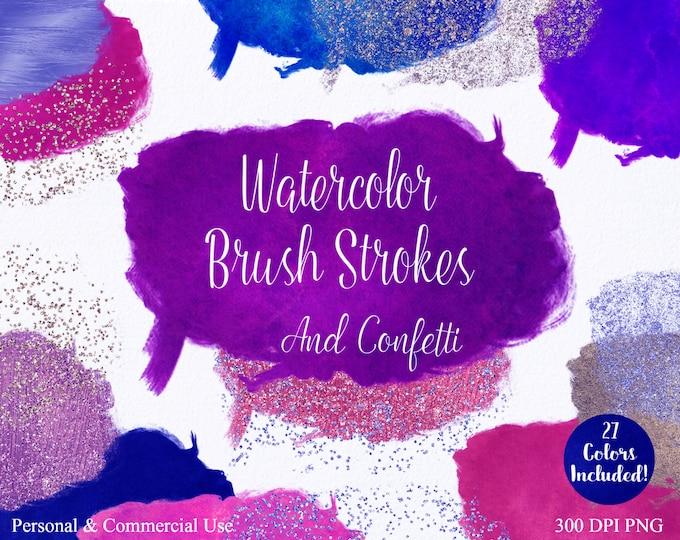 WATERCOLOR PAINT STROKE Clipart Commercial Use Clipart 27 Watercolor Brush Stroke Pink Blue Purple Confetti Watercolor Texture Logo Clip Art