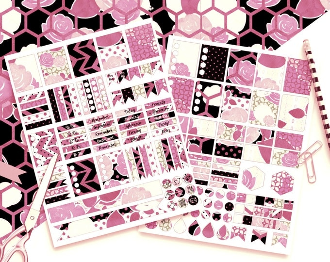 PINK WATERCOLOR FLORAL Digital Sticker Sheets Black White Metallic Flower Stripe Digital Printable Planner Stickers Erin Condren Stickers