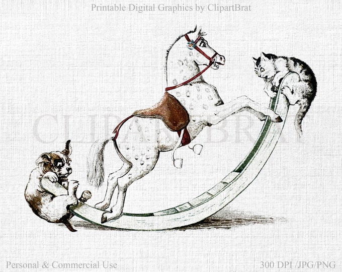 VINTAGE ROCKING HORSE Clipart Commercial Use Clipart Cat & Dog Fabric Transfer Image Rocking Horse Digital Stamp Graphic Transfer Jpg/Png