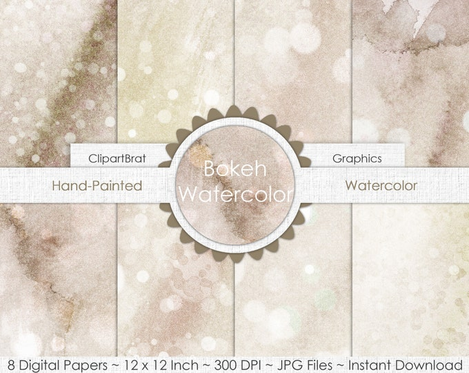 SAND WATERCOLOR Digital Paper Pack Commercial Use Background Paper Tan Bokeh Dot Watercolor Paper Real Watercolor Beach Digital Paper