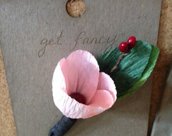 Crepe Paper Flower Boutonierre - Available in many colors