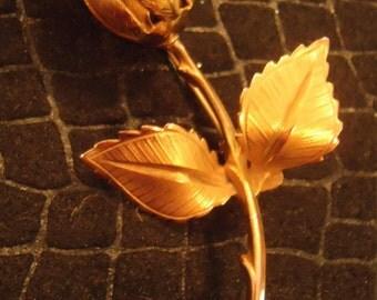 Vintage signed Giovanni ROSE Brooch, Rose brooch pin, Rose Scarf pin