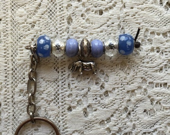 Elephants with blues and clear beads