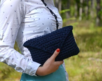 Crochet Clutch/Elegant Handbag/Crochet handbag/Blue crochet bag/Summer handbag