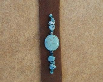 Turquoise Beaded Leather Cuff Bracelet