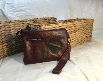 Maroon leather wristlet combo with lips