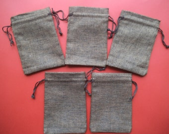 Small linen bags,  brown colored linen bags, toy bags, money bags, storage bags, drawstring bag