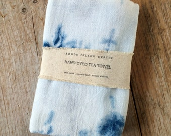Shibori Dish Towel ~ Flour Sack Dish Towel ~ Indigo Tea Towel