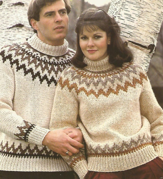 4d9147edb46 Knit men and womans sweater fairisle OhhhMama  patterned with long sleeves  and turtle neck jumper tunic vintage pattern instant download pdf