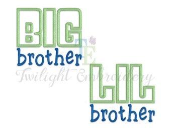 Set of 2 Big Brother Applique Machine Embroidery Designs, Little Brother Applique Machine Embroidery Design 0032