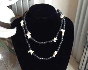 20% OFF Long Black Glass and White Chip Necklace