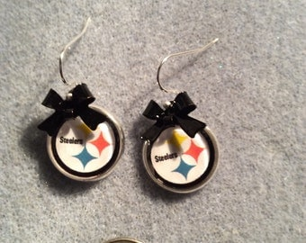 Pittsburgh Steelers cabochon earrings with Black bow