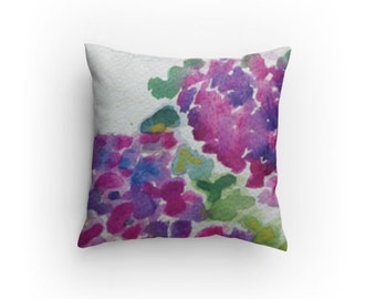 """SALE Throw Pillow """"Hydrangeas"""" 14 x 14 inches with Pillow Insert, Holiday Gift"""