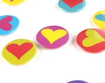 Colourful Heart Fridge Magnets set of 10