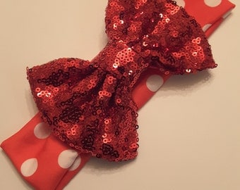 Red polka-dot Sequin bow