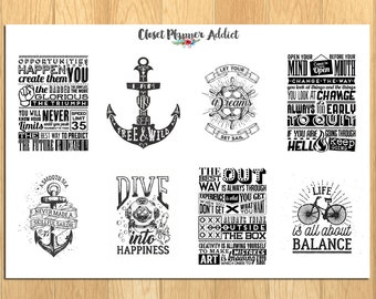 Motivational & Inspirational Quotes Monochrome Planner Stickers (MS-011)