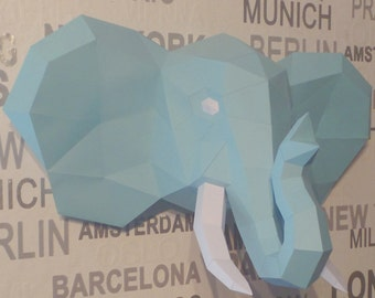 Elephant out of paper, papercraft, DIY, 3D, trophy, papermodel, wall decoration