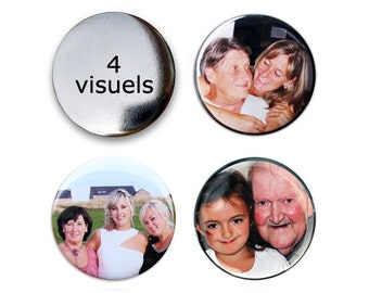 Lot of 4 badges with your (your) Visual (s) - order your own customizable badges round 38 of 56 mm