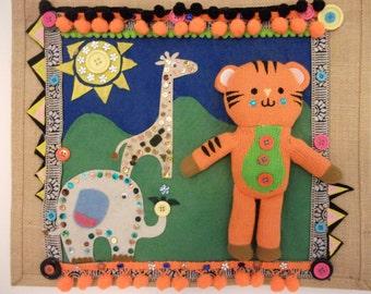 Tiger bag,bags for kids,nursery storage,cute toy storage,zoo decor,babybag,zoo animal bag,safari bag,tiger toy,jungle decor,gift for a child