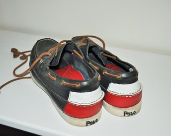 SALE /  Vintage Moccasins / POLO Ralph Lauren / Loafers / Blue / Leather / 44 / size 10 / Shoes / Casual / Oxfords