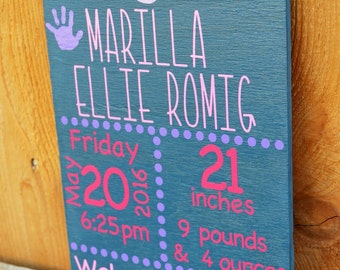 Personalized Baby Name and Birth Stats Sign, Nursery Decor, Birth Announcement
