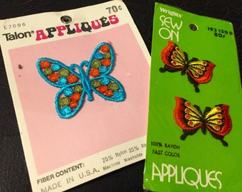 Vintage Colorful Butterfly Embroidered Appliques total of 3