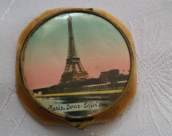 Vintage French Eiffel Tower Powder Compact