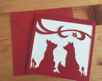 Papercut Foxes Card - Red