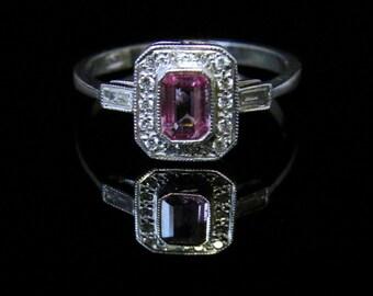 Antique Art Deco Pink Sapphire & Diamond Ring 18ct White Gold
