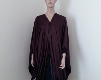chocolate brown satin silk with faux velvet trim  3/4 abaya and sheyla.