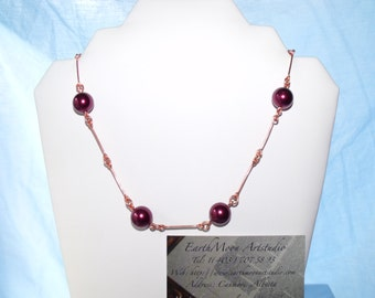 Burgundy pearls necklace 0306