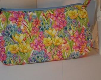 Purse floral spring quilted zipper pockets pink green blue yellow light weight shoulder bag top handle satchel