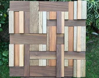 Wharf. Wood wall art. Walnut, teak, cherry oak & ash mounted on birch ply matt finish. Handmade in Cornwall.