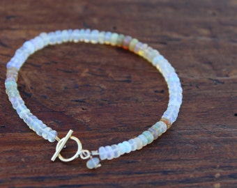 Genuine Etheopian Opal Bracelet with Gold Filled Clasp and Opal Drop Charm